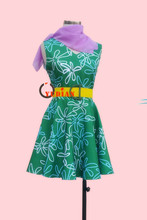 2015 Film Inside Out Disgust Cosplay Costume Green Dress(China)