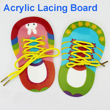 Educational Toys Lacing Boards Acrylic Shoes Lacing Toy Montessori Life Skill Bizybord Dressing Game For Children Busy Board(China)
