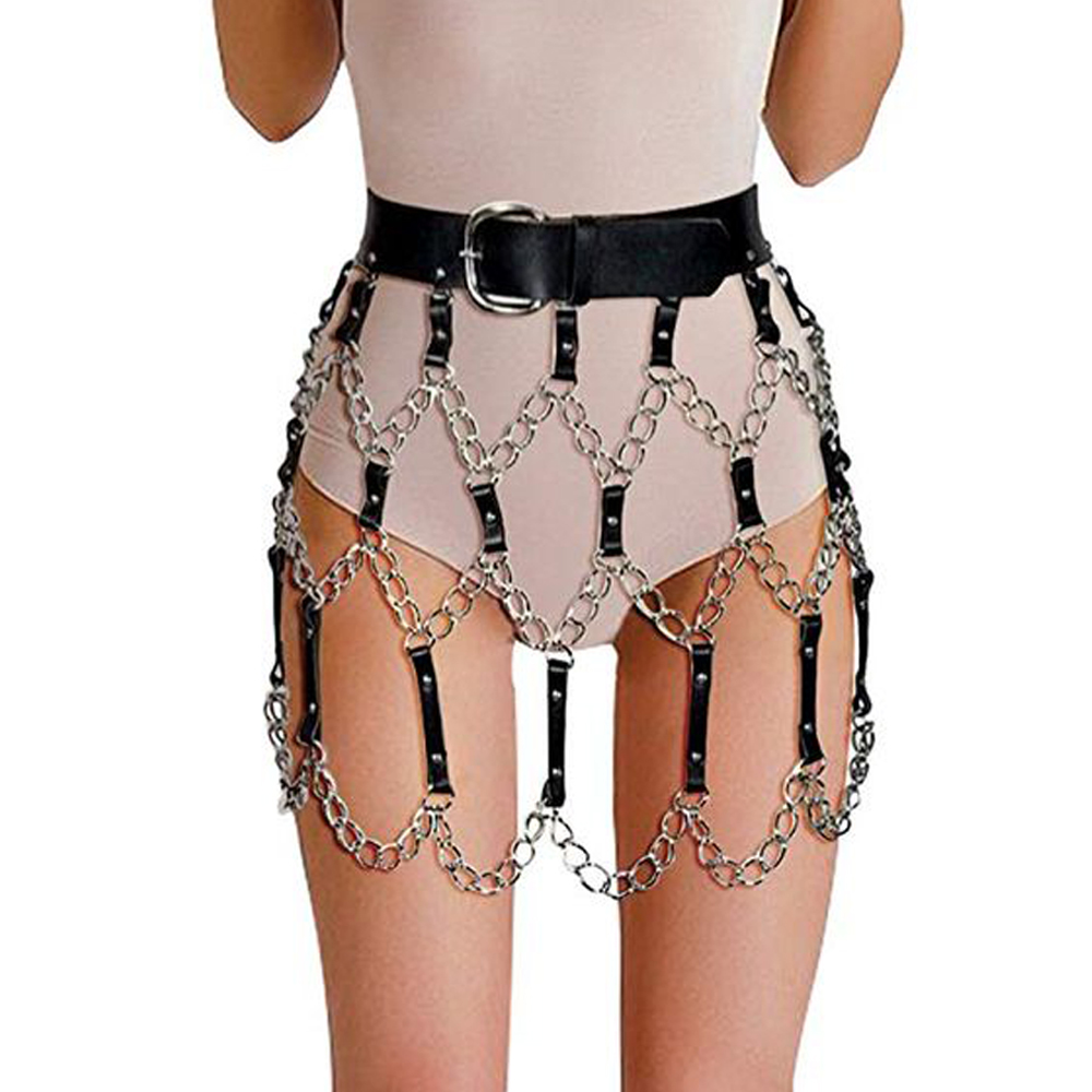 UYEE 2019 Sexy Leather Harness Belts Female Skirt Belts Punk Gothic Rock Women Underwear Waist With Chain Body Bondage Hollow