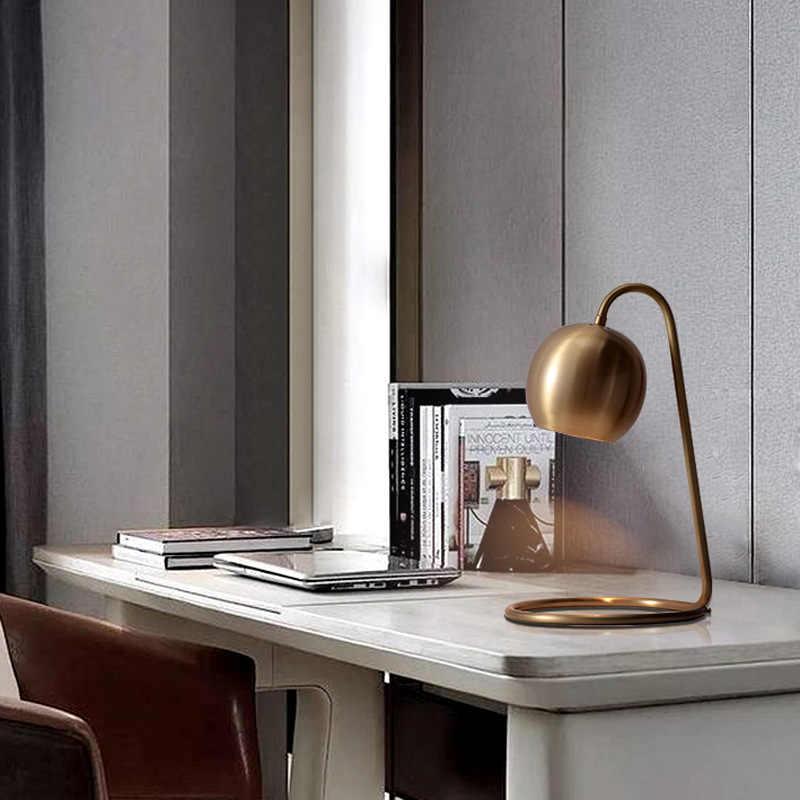 Современная Nordic медным покрытием Ретро настольные лампы Настольная лампа в стиле АР-деко Модное чтение светодио дный E14 220 В для изучения кафе спальня офисные
