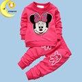 Nueva ropa del bebé 2 piezas conjunto bebé de dibujos animados mickey minnie niñas ropa establece recién nacido ropa para bebés
