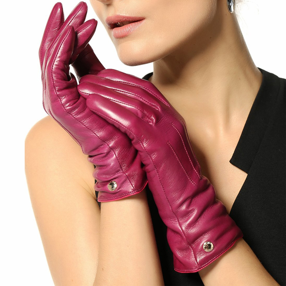 Womens leather gloves with touch screen fingers - Women Genuine Leather Gloves 2017 New Arrival Winter Goatskin Top Quality Five Finger Driving Touchscreen Glove