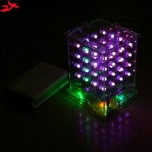 Cubeeds zirrfa NUEVA 3D 4X4X4 RGB A Todo Color pantalla LED De Luz Kit DIY Electrónica 3d4*4*4 para Audrio