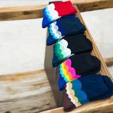 5 Pairs/lot Casual Mens Cotton Striped Colorful Happy Socks Harajuku Gradient Color Business Dress Socks Long Socks WZ053