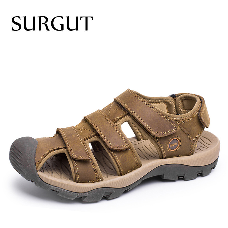 SURGUT Male Sandals Summer Shoes Comfortable Flat Genuine-Leather High-Quality Fashion