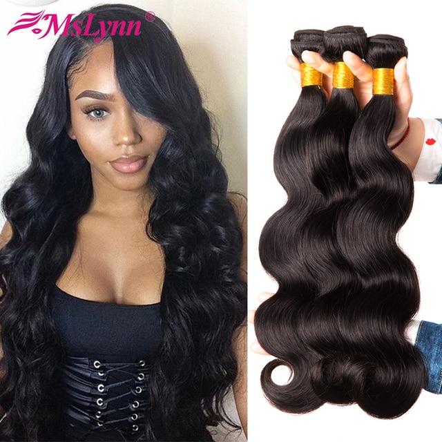 Paquetes de extensiones de pelo brasileño de onda del cuerpo paquetes de pelo humano 100% paquetes de pelo no Remy armadura de pelo de Mslynn 4 o 3 paquetes disponibles