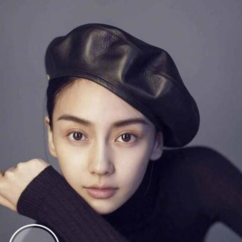 jiangxihuitian Brand Fashion Felt Pu Leather Beret Hat Women Cap Female Ladies Beanie Beret Girls For Spring And Autumn