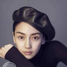 jiangxihuitian Marka moda czuł PU Leather Beret kapelusz kobiet Cap female Ladies Beanie Beret dziewcząt na wiosnę i jesień tanie tanio Berety Stałe kapelusze damskie Denim imitacja skóry skórzany Dorosłych Casual Unisex 55-58cm kolor czarny Jesień Zima