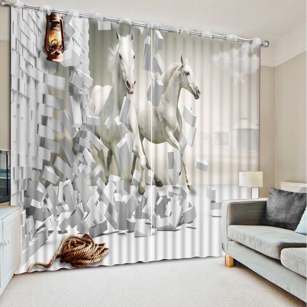 Us 66 0 56 Off Large Window Curtains Sheer Living Room Home Decor Horse Photo Printed D Children Bedroom Curtain In