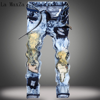 High Quality Straight Vintage Hole Straight Patchwork Pants Stretch Denim Men Jeans