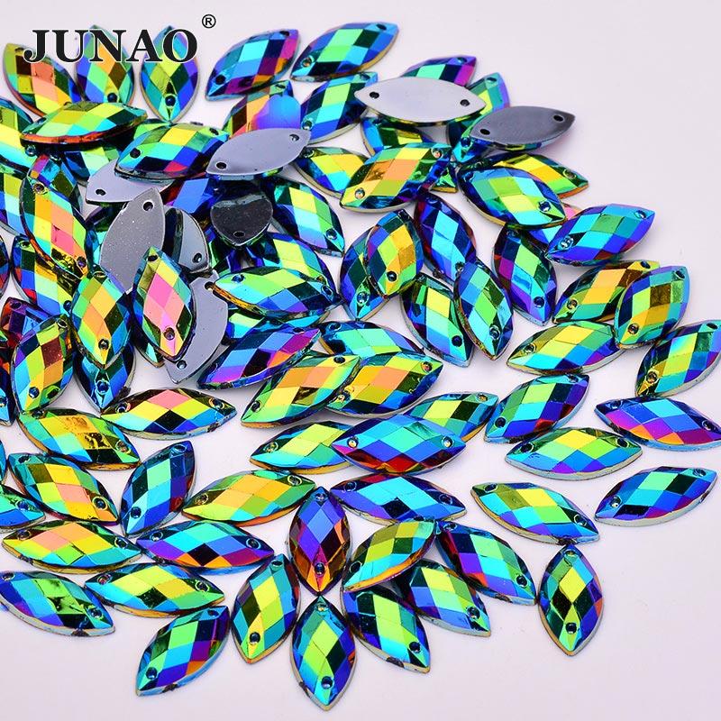 JUNAO 7*15mm Sewing Black AB Flatback Rhinestones Sew On Fancy Crystals Stones Horse Eye Acrylic Strass For Dress Crafts