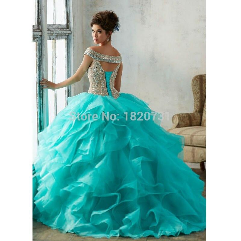 Quinceanera robe de bal à encolure dégagée robes de Quinceanera bleues 2019 robes de Debutante à paillettes perlées de luxe 15 ans - 4