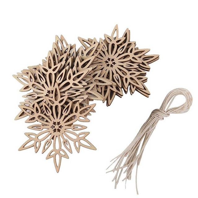 10Pcs Wooden Snowflakes Christmas Decorations For Home Hanger New Year Christmas Tree Decorations Navidad 2019 Decor