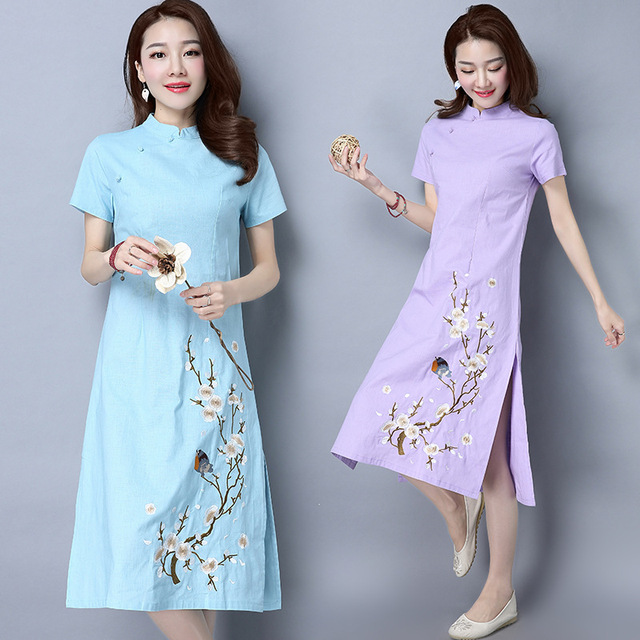 2018 New Arrival Feaday Chinese Style Asymmetrical Print Full Embroidery Embroidered Cotton Short Sleeved Collar  Summer Dresses