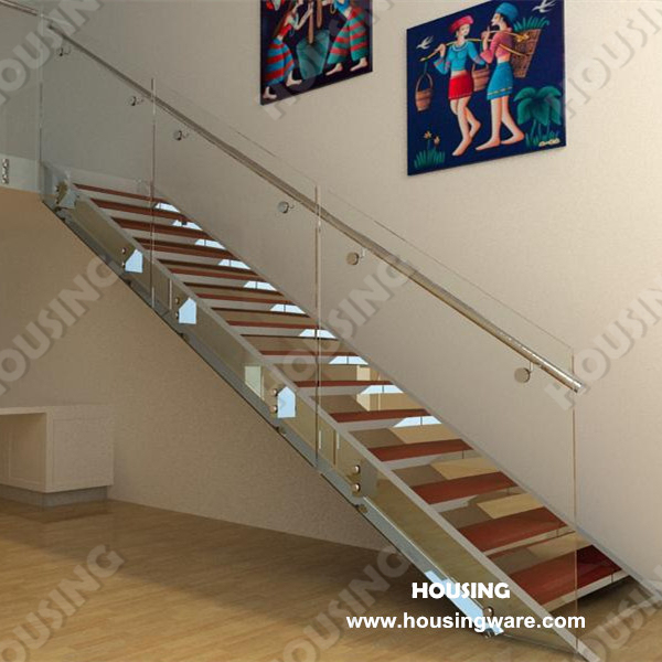 Inexpensive Wood Steps And Laminated Gl Handrail Straight Indoor Stair