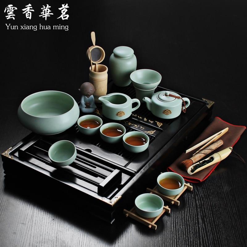 Yixing Ceramic Kung Fu Tea Set Solid Wood Tea Tray Teapot Tea Suit Chinese Tea Ceremony