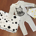 Baby Cute Fox Print One Piece Rompers Long Sleeve O Neck Body Suit for Boys and Girls