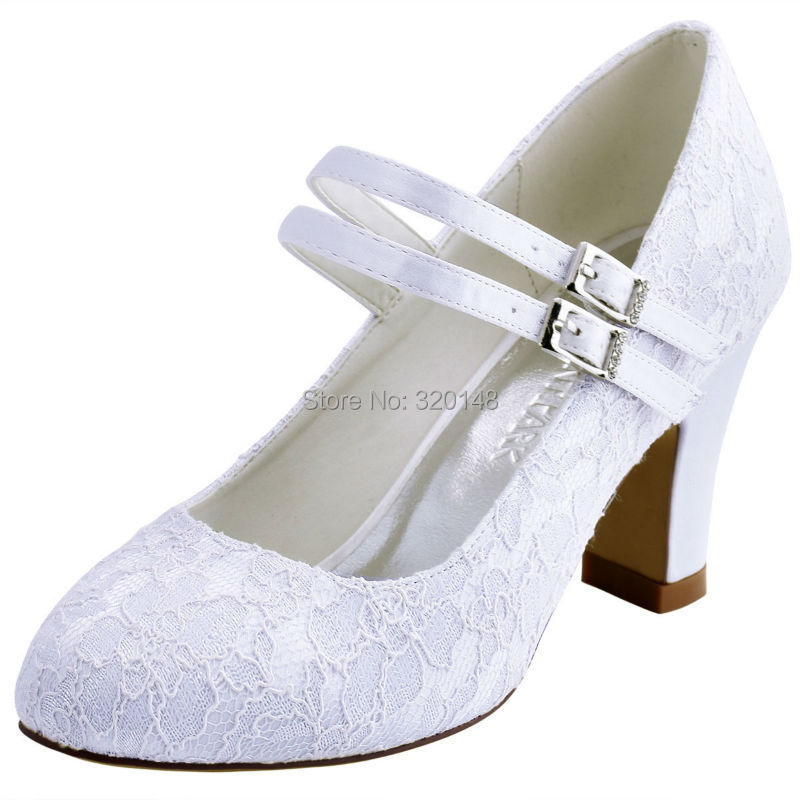 Shoes Woman HC1708-US White Ivory Block Heel Comfort Mary Jane Lace Bride Lady Bride Bridesmaids Wedding Bridal Pumps navy blue woman bridal wedding sandals med heel peep toe bride bridesmaid lady evening dress shoes white ivory pink red hp1623