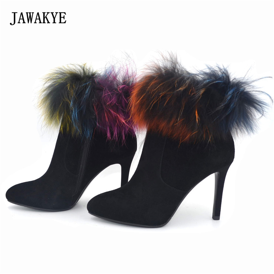 лучшая цена JAWAKYE Winter Fur Snow Boots Shoes Woman Kid Suede Platform Ankle Boots for Women Fashion High Heels Booties zapatos mujer
