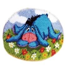 Latch Hook Kits Rug DIY Pillowcase Crocheting Cushion Seat Carpet Round Handmade Canvas Mat Cartoon for Adults Kids Gift Eeyore