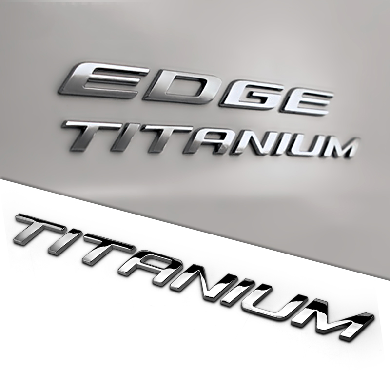 2.2cm TITANIUM Letters Solid Metal Zinc Chrome Refitting Car Styling Emblem 3D Sticker T ...