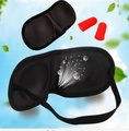 Eye care Mask Black Sleeping Eyeshade Eyepatch Blindfold with Earplugs Shade Travel Sleep Aid Cover Light Guide Wholesale