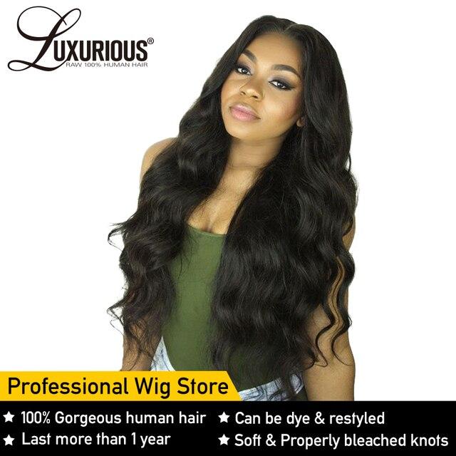Pelucas de cabello humano frontal de encaje de onda del cuerpo para mujeres línea de pelo Pre desplumado con pelo de bebé 8-26 pulgadas brasileño cabello Remy nudos blanqueados