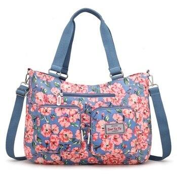 Women Handbag Nylon Waterproof Beach Bag Multicolor Flower Print Mummy Big Tote Bag Travel Shopping Shoulder Bag Bolsa Feminina tote bag