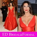 Kim Kardashian Red Dress A Line Plunging V Neck Taffeta Celebrity Inspired Formal Evening Gown Red Carpet Prom Dress