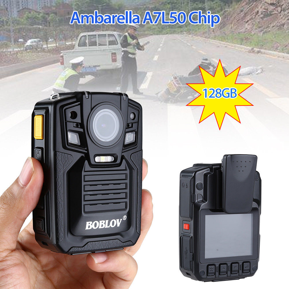 BOBLOV 128GB Ambarella A7L50 HD 1296P Police Body Worn Camera IR Light 8 Hours 140 degrees DVR Video Recorder free shipping ambarella a2 1080p 30fps hd police camera police body worn camera action body police camera