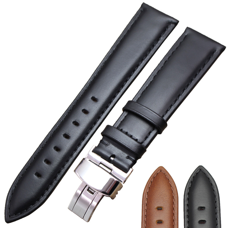 Genuine Leather Smooth Watchbands Black Brown 18 19 20 21 22 24mm Women Men Watch Band Strap Wrist Belt Bracelet Steel Clasp high quality genuine leather watchband 22mm brown black wrist watch band strap wristwatches stitched belt folding clasp men
