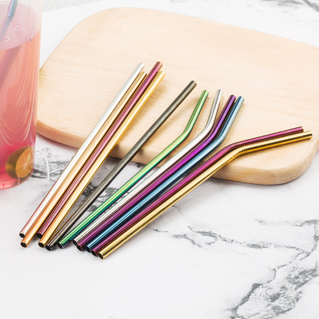 Kleurrijke 304 Rvs Rietjes Herbruikbare Rechte Gebogen Metalen Rietje Met Cleaner Brush Set Party Bar Accessoire