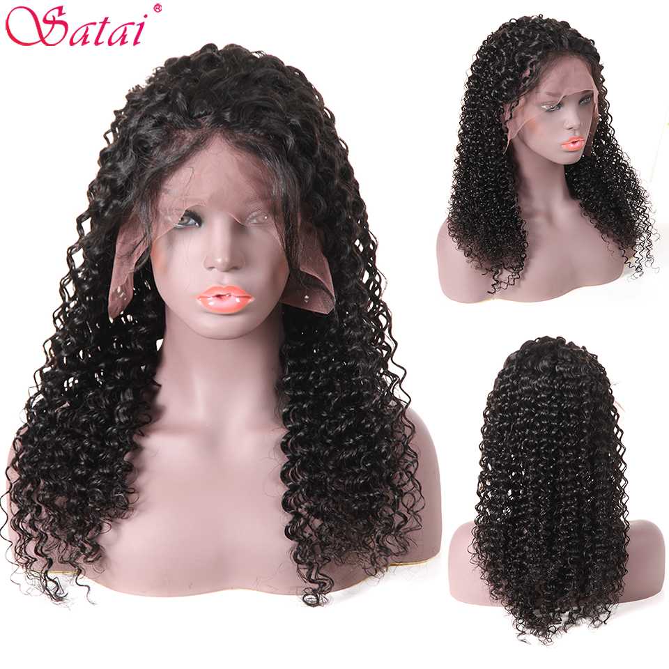 Satai Deep Wave Hair Lace Front Human Hair Wigs Pre Plucked Hairline With Baby Hair Bleached