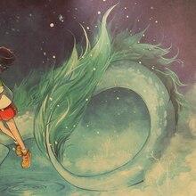 Cravate LER célèbre Hayao Miyazaki Anime film en spirale à partir de papier Kraft affiche décorative peinture Stickers muraux