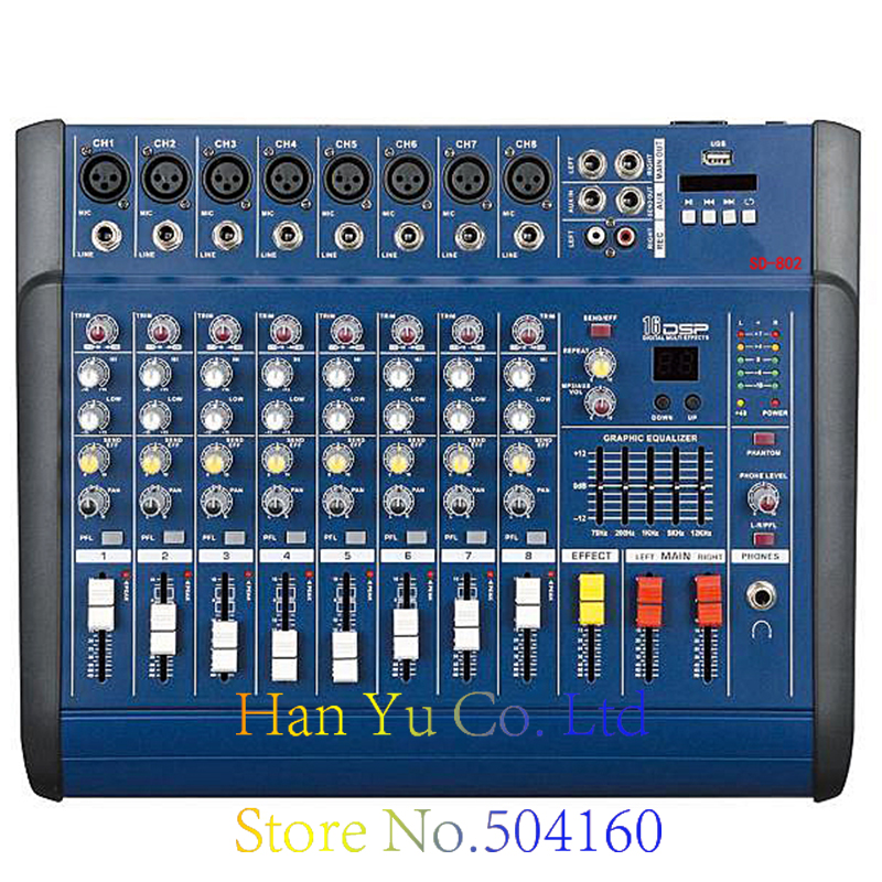 Professional Karaoke Audio Mixer With Power Amplifier 4 Channel Digital Microphone Sound Mixing Console With USB 48V Power professional 4 channel live mixing studio audio sound console network anchor portable mixing device vocal effect processor