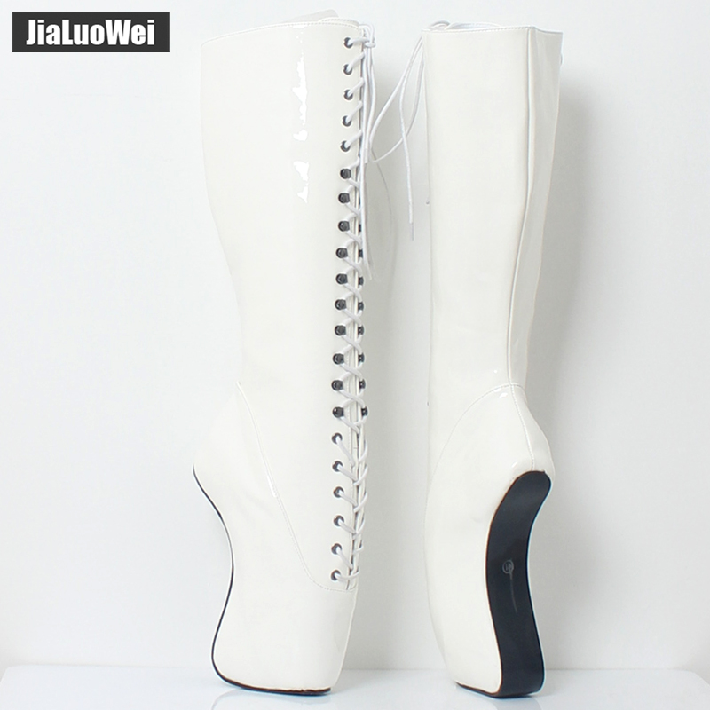 Image 2 - 2018 New Arrive 18CM High Heel Ballet Wedge Hoof Fetish Lace up Knee High Unisex Ballet Pinup Boots-in Knee-High Boots from Shoes