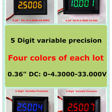 """RD четыре цвета 0,3"""" точность переменной постоянного тока 0-33 в четыре провода цифровой вольтметр напряжение Панель метр светодиодный дисплей [4 шт./лот]"""