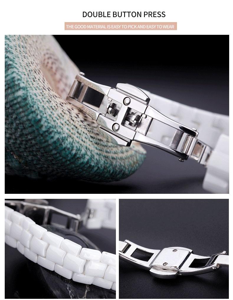 frauen weiße uhren platz damen keramik uhr quarz luxusmarke - Damenuhren - Foto 3