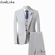 (Jacket + Pants+vest) Fashion Men Business Suits Slim Men's Suits Brand Clothing Wedding Suits For Men Latest Coat Pant Designs