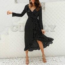 CUERLY 2019 sexy V-neck Streetwear maxi dress Polka dot ruffle wrap long Women Split sleeve summer casual dresses