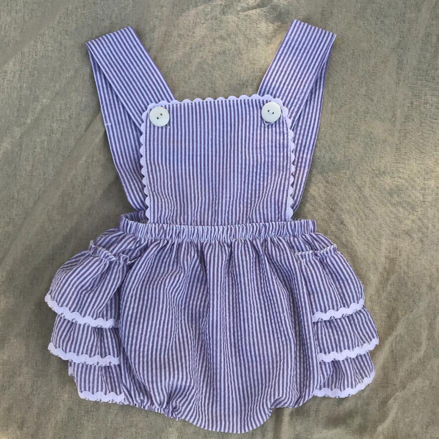 wholesale seersucker onesie romper dress toddler summer wear baby clothes kids girls stripe rompers
