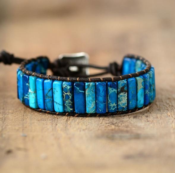 Unisex Bohemian Bracelets Tube Natural Stonse Single Leather Wrap Bracelet Beaded Couples Bracelet Bestfriend Gifts Dropship