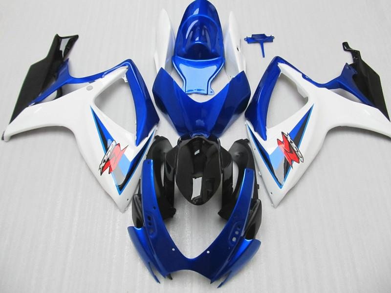 Customize for Suzuki GSXR 600 fairings GSXR 750 Fairing kit fairings 2006 2007 06 07 Blue white Fairings 7 free gifts plastic fairings set for hayabusa suzuki gsxr1300 1996 2007 blue black white fairing kit gsx1300r 96 07 fb54