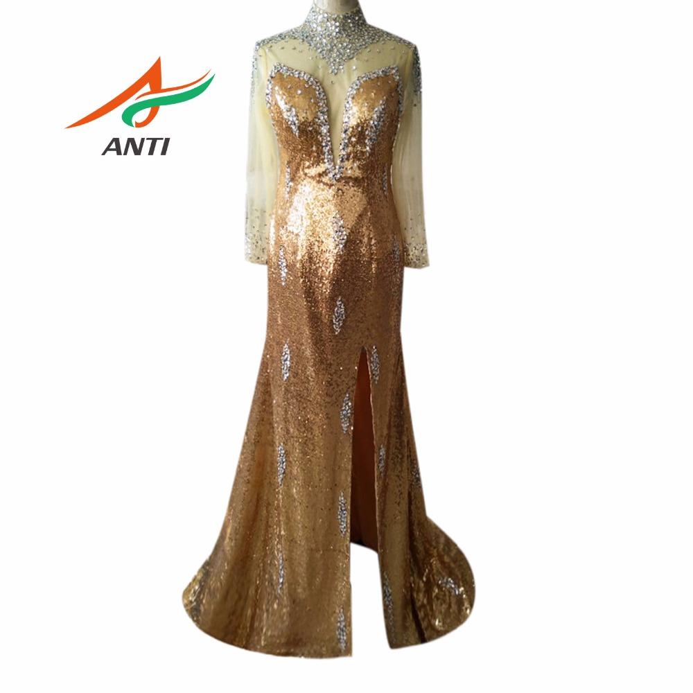 ANTI 2018 Formell Aftonklänning Lång Ärmar Beaded Kristaller Elegant Gown Party Vestido De Festa Longo Robe De Soiree Sweep Train