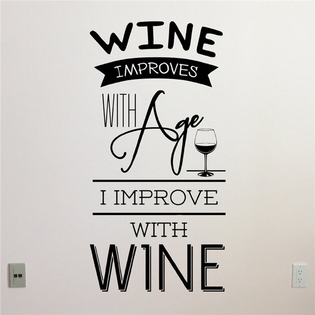 Wine Improves With Age I Improve Wall Sticker Home Decor Kitchen Living Room