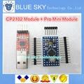 Новый 2 ШТ. = 1 ЛОТ CP2102 Модуль + 1 ШТ. Pro Mini Модуль Atmega328 5 В 16 М Для Arduino Совместимый С Nano