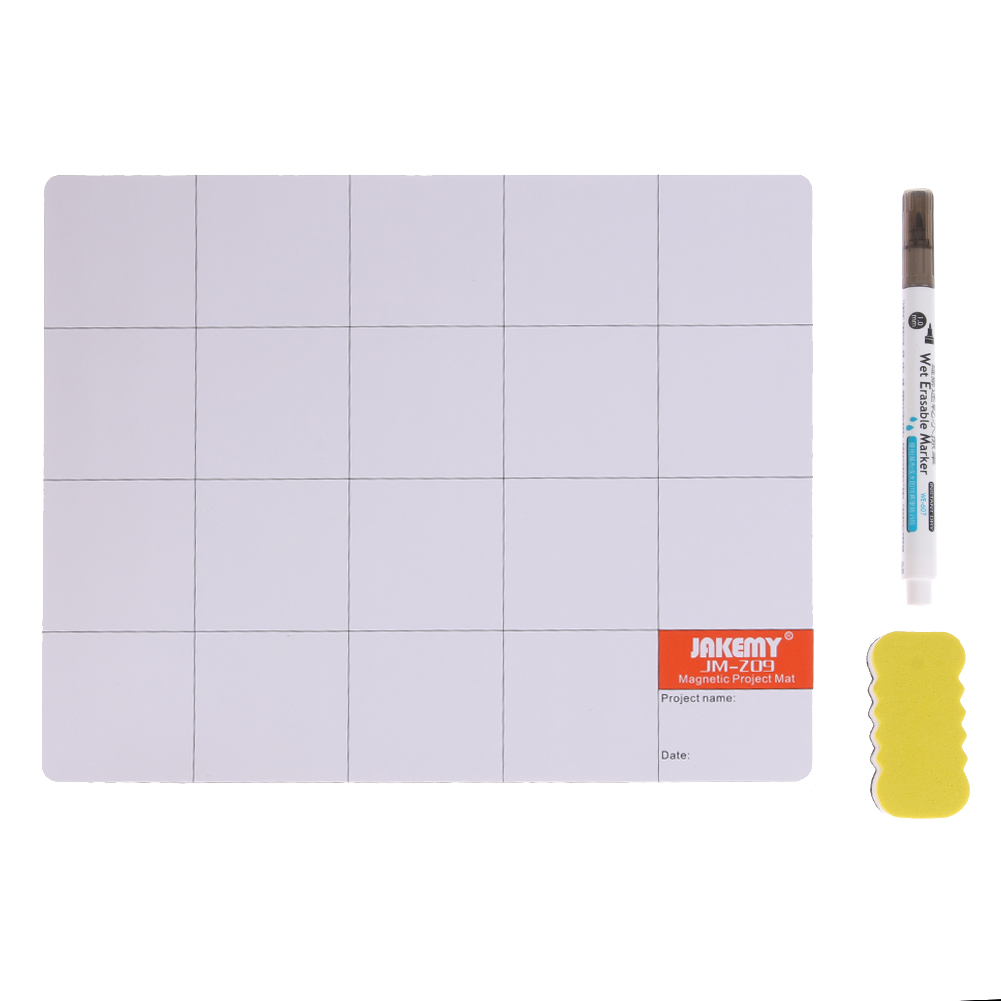 JM-Z09 Magnetic Project Mat Screw Work Pad with Marker Pen <font><b>Eraser</b></font> for <font><b>Cell</b></font> <font><b>Phone</b></font> Laptop Tablet iPhone Repair Tools Mat