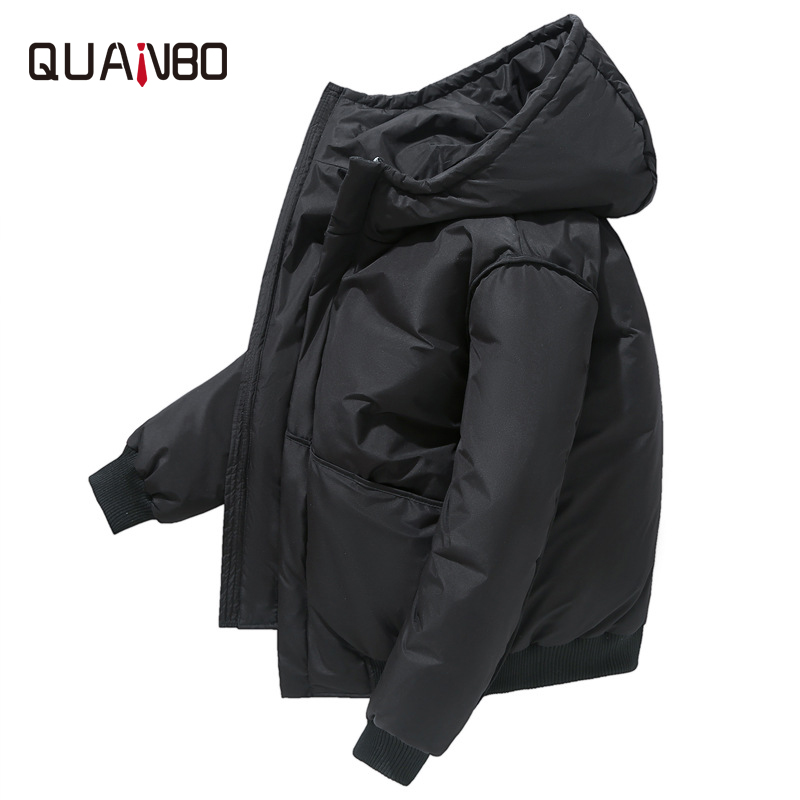 QUANBO 2019 New Short Tide Men Winter   Down     Coat   Youth Student Casual Mens Thickening Warm   Down   Jacket Brand Men Clothing Black