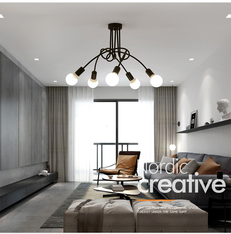 Hot Vintage Industrial Loft Chandelier Ceiling Lamp With 5 Lights (Black) bulbs not included(China)