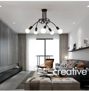 Image 1 - Sıcak Vintage endüstriyel Loft avize tavan lambası 5 ışıkları (siyah) ampuller dahil değildir
